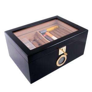 black cigar humidor with digital hygrometer