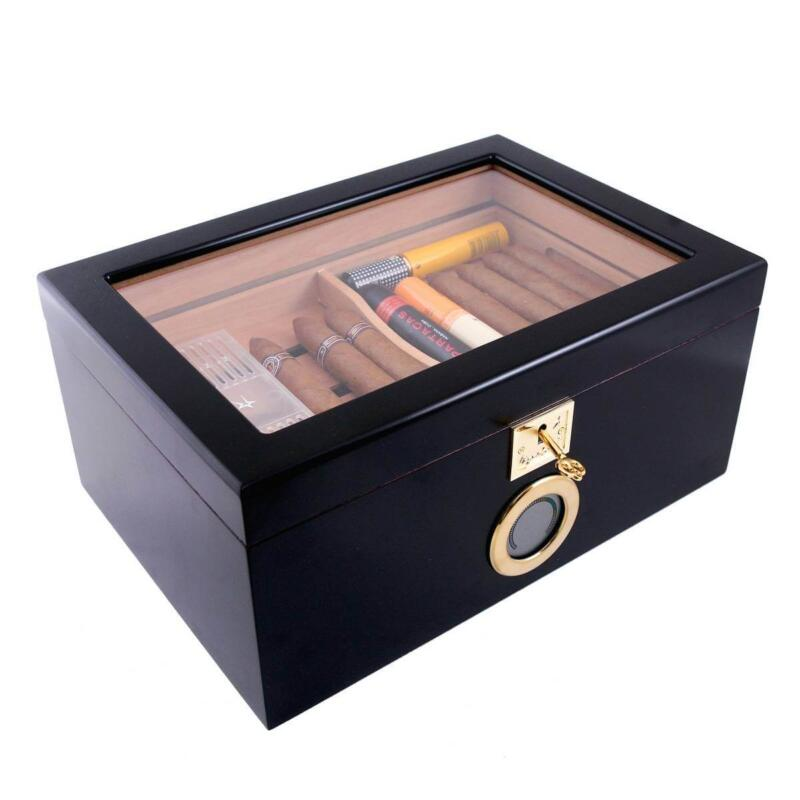 black cigar humidor with digital hygrometer
