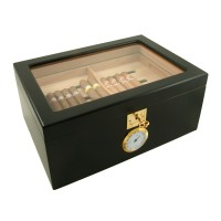 Black Showcase II Cigar Star Humidor Glass Top