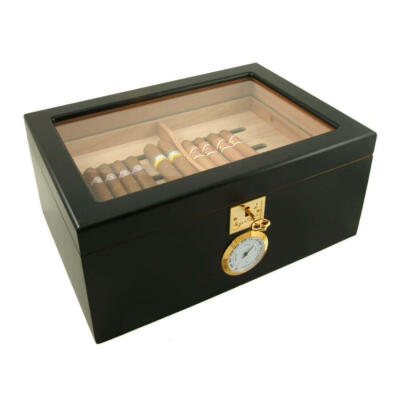 Black Showcase II Humidor made from Walnut Burl - Buy Online in Canada at Cigar Star