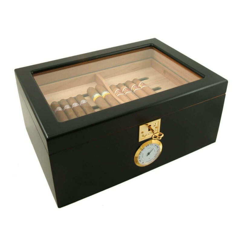 Black Showcase II Humidor made from Walnut Burl
