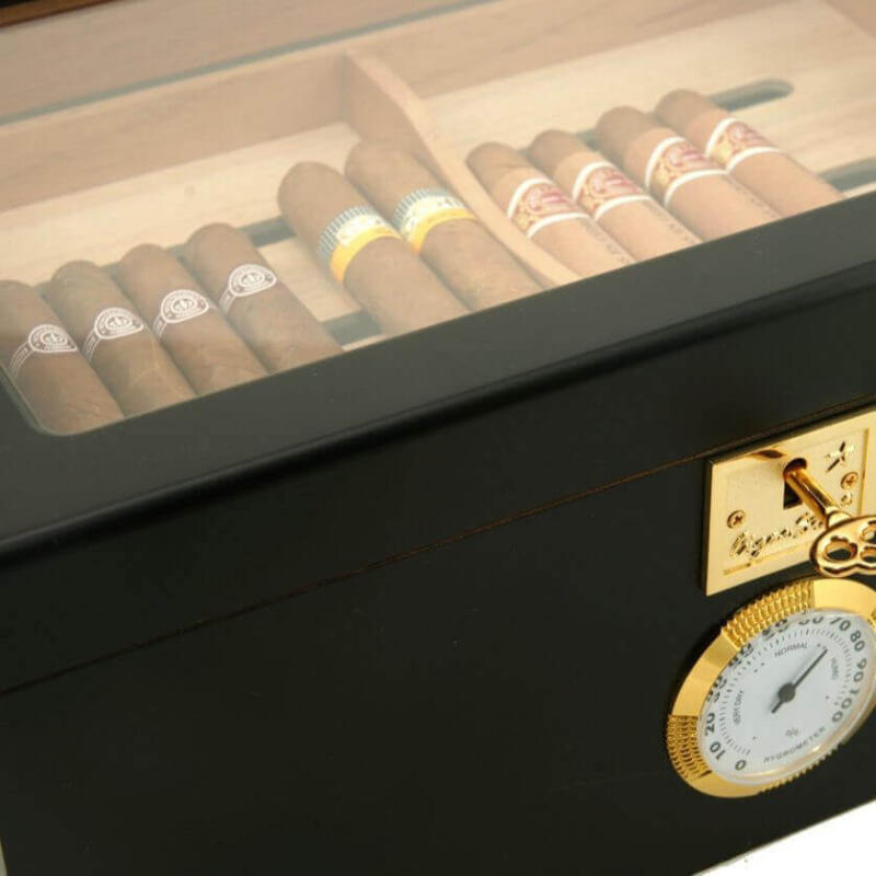 Black Glass Top Cigar Humidor