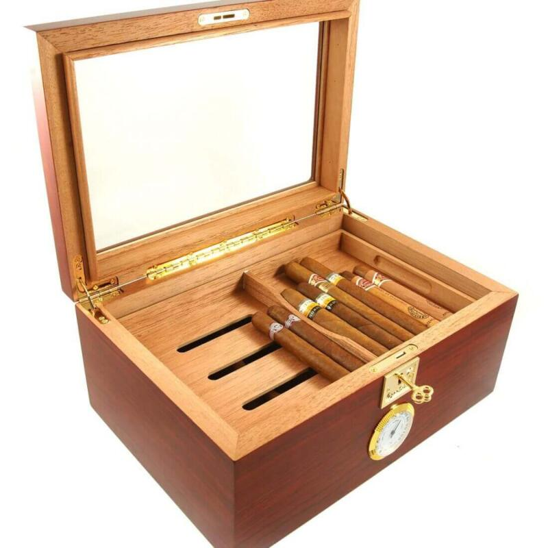A Showcase II Bubinga Cigar Star Humidor Glass Top