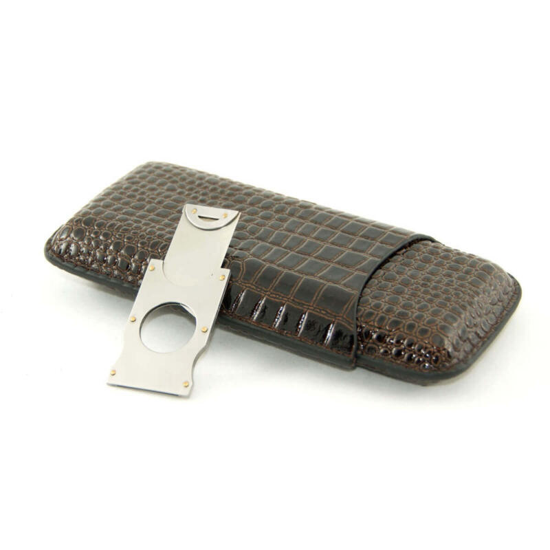 Croco Cigar case with cutter