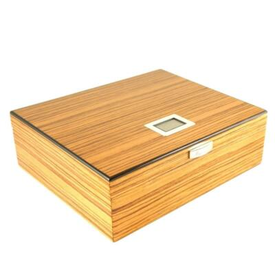 The Nobel 50 Cigar Humidor Zebra wood with digital hygrometer