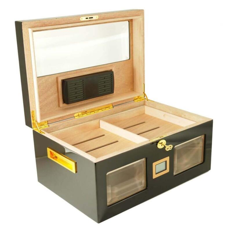 Black cigar humidor
