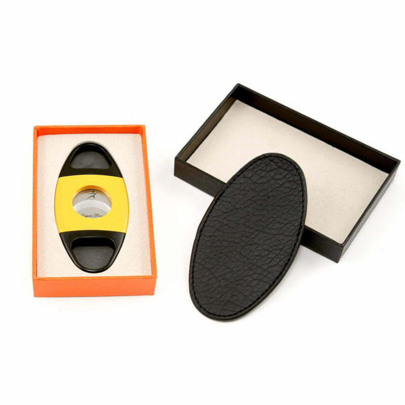 Two toned yellow cigar cutter with black handles by Cigar Star