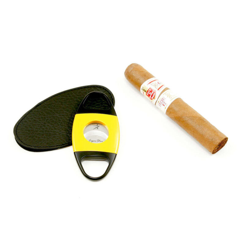 Yellow cigar cutter with self sharpening edges by Cigar Star