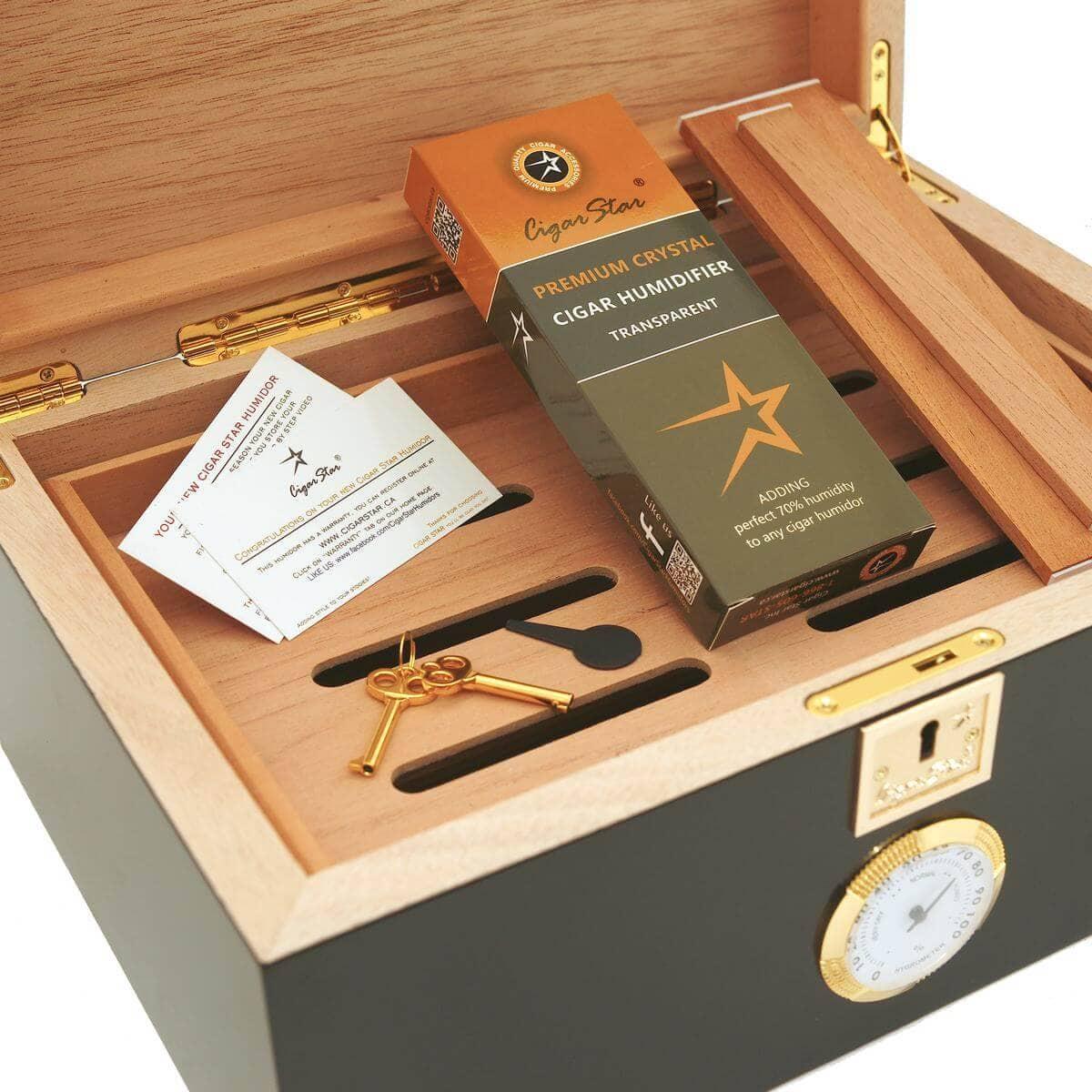 Classic Black Cigar Humidor For 120 Cigars Cigar Star