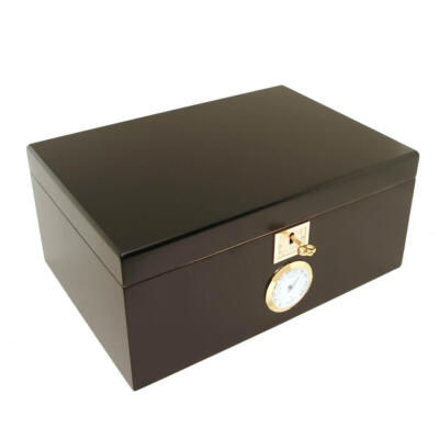 Classic Black Cigar Humidor for Up to 120 Cigars