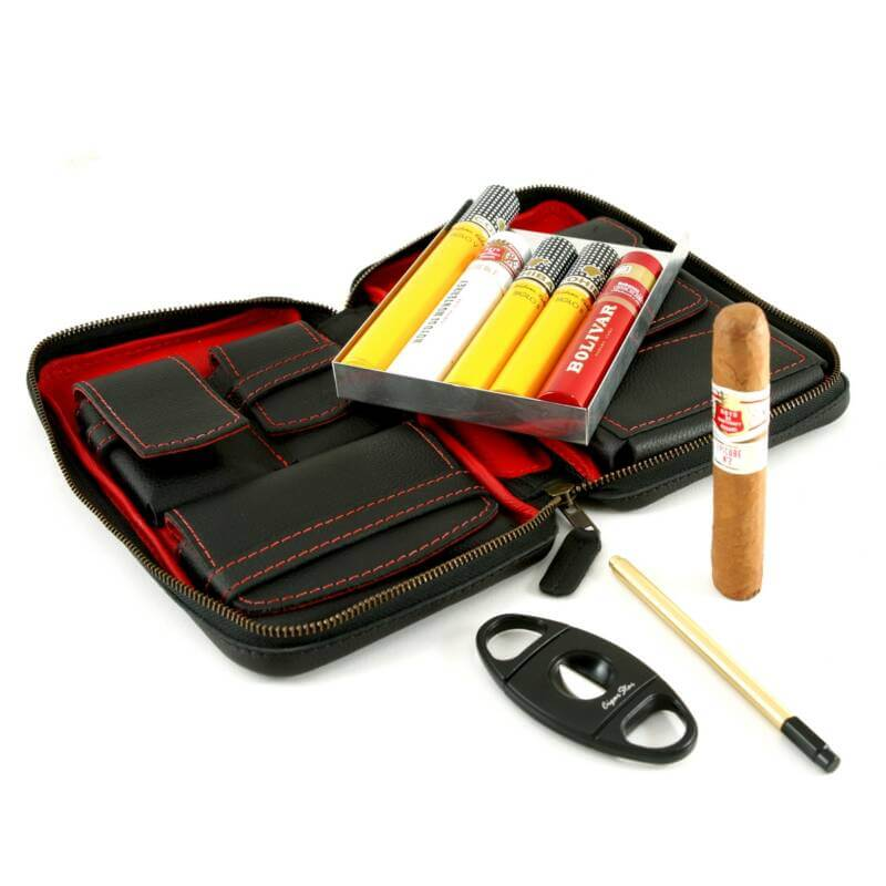Leather cigar tote