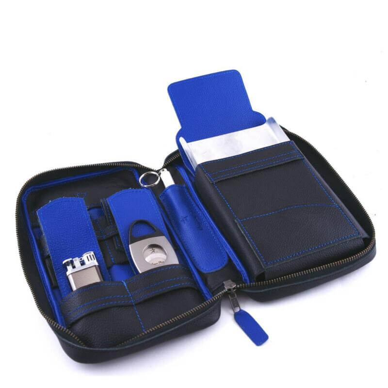 Cobalt Blu Leather Cigar Case
