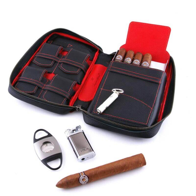 red leather cigar case