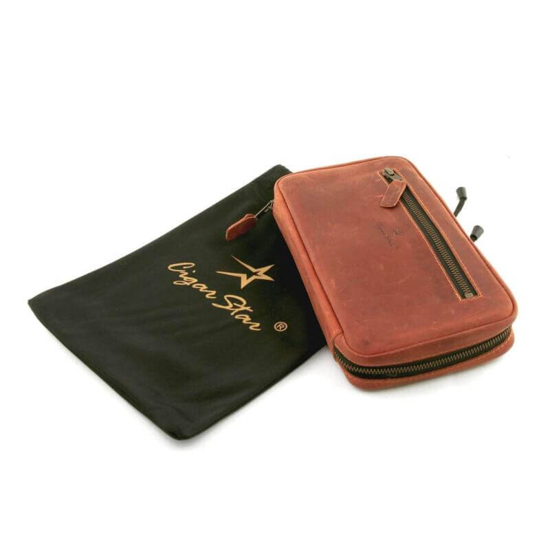 Leather cigar travel case